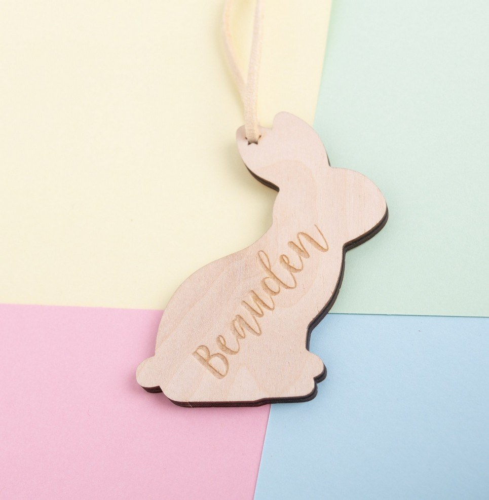 Engraved Easter Bunny Hanging Decoration