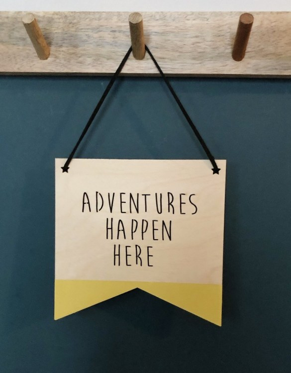 A great way to personalise your space, the Adventures Happen Here Plaque is beautiful wooden plaque to hang proudly in your new home!
