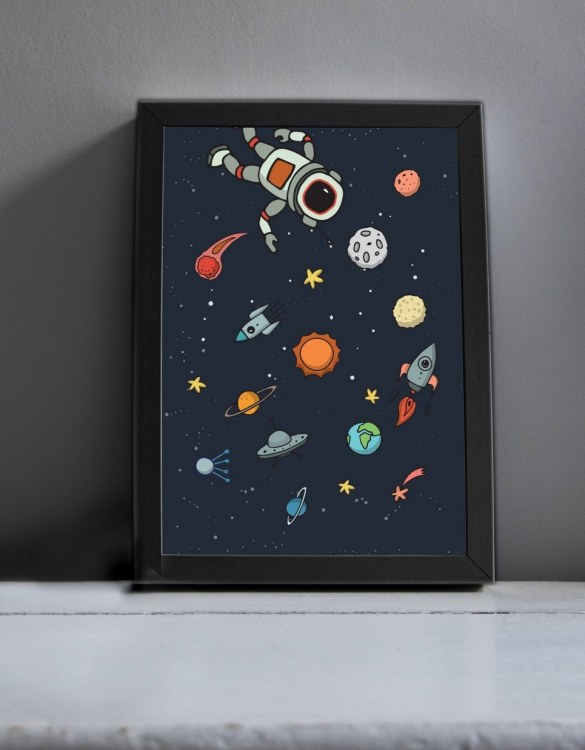 Brighten up your home with the Into Space Nursery Print. Amaze a little 'super hero' with this fabulous modern art print, lovingly made just for him.