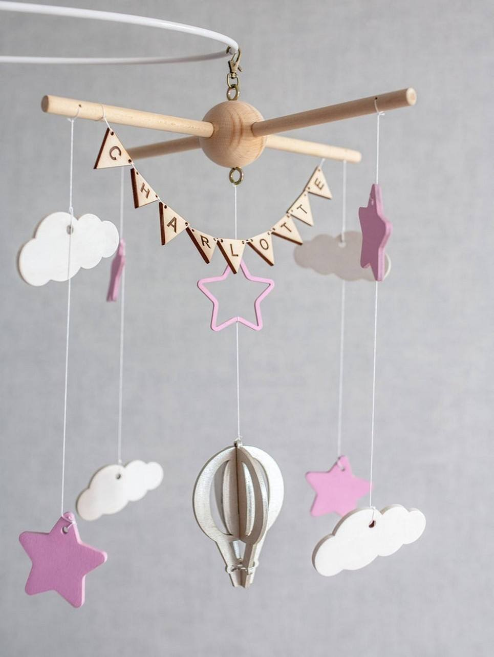 Personalised Girl Wooden Baby Mobile