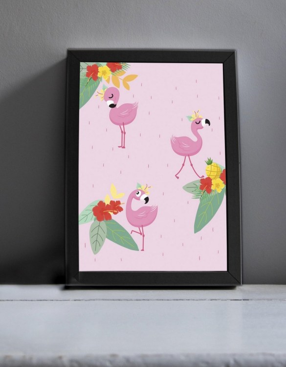 Brighten up your home with the Three Flamingos Modern Art Print. Amaze a little 'super hero' with this fabulous modern art print, lovingly made just for him.
