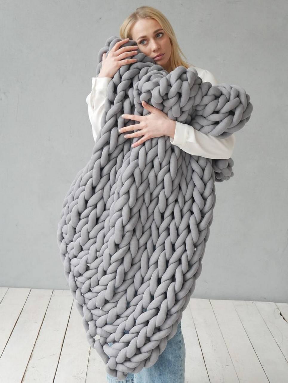 Grey Chunky Cotton Blanket – 2