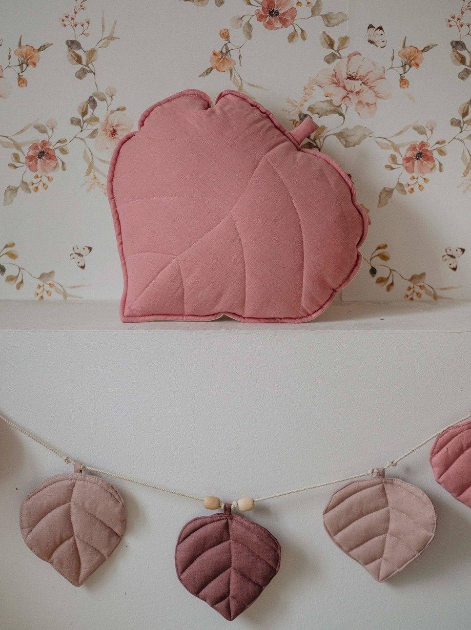 Dirty Pink Linen Leaf Cushion