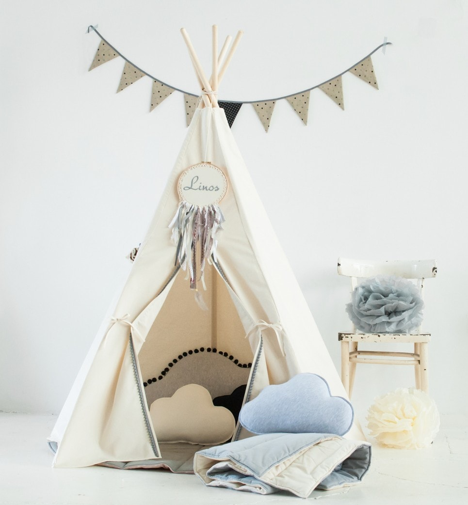 Gray Pompons Children's Play Teepee-min