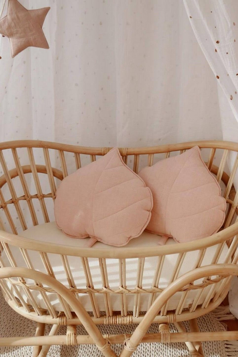 Light Pink Linen Leaf Cushion