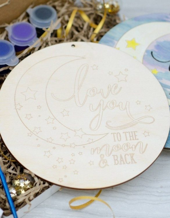 The perfect gift for every young artist, Love You To The Moon And Back Painting Kit is fabulous for your special ones to decorate and hang in their windows, bedrooms or to send on to loved ones.
