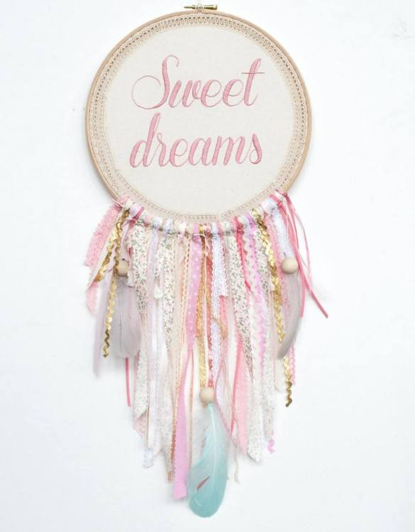 Perfect for a nursery or child's bedroom, the Pink Sweet Dreams Handmade Dream Catcher looks great as a new baby gift or to hang in the baby's nursery. Dream catchers are totems that represent good energy, and neutralize negative energy at home.
