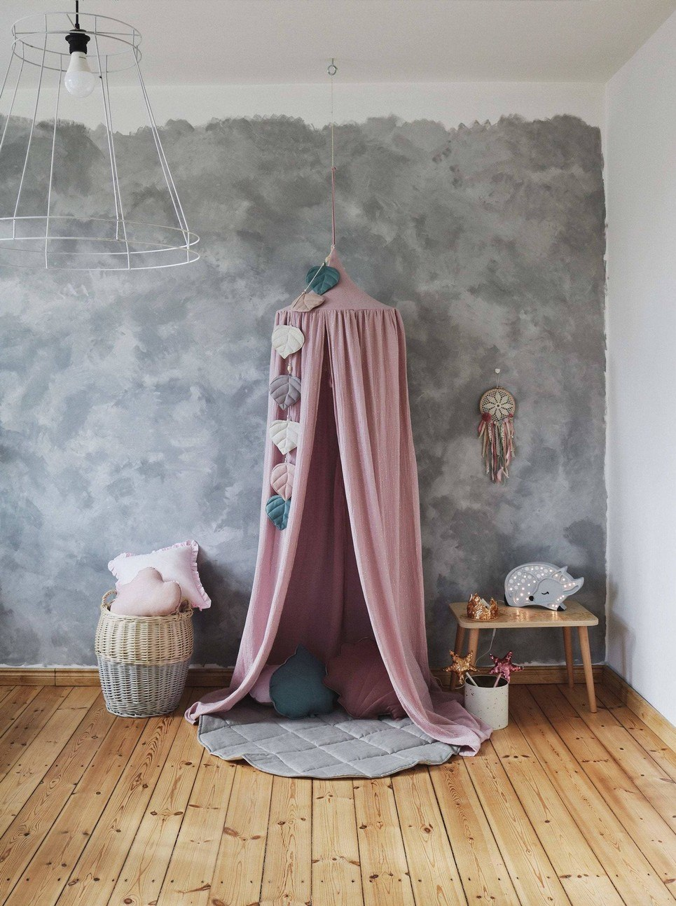 Pink and Gold Children's Bed Canopy