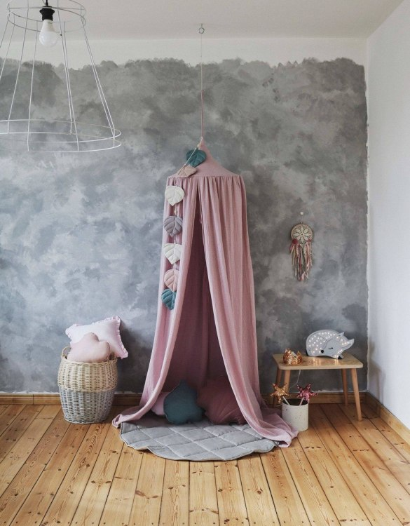 Create a safe fairytale-like environment for little ones with the Pink and Gold Children's Bed Canopy. This canopy will suspend neatly above your child's bed or in the corner of room decoration for a baby, to create the perfect space for reading and playing.
