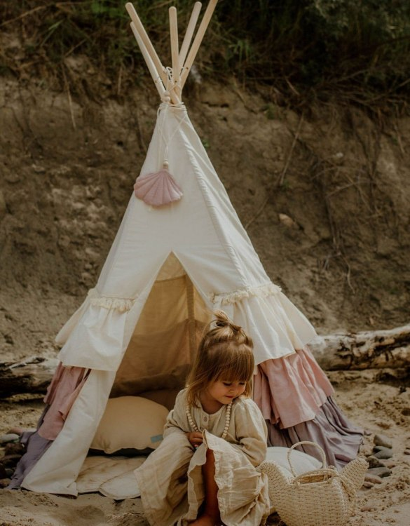 A beautifully handcrafted playtent for little adventurers, the Powder Frills Children's Play Teepee is a versatile play space which is as beautiful as it is fun. Younger children will enjoy playing camp, hosting a tea party and allowing their imagination to run free (a shop one day a space rocket the next!).