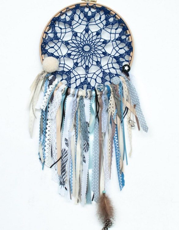 Perfect for a nursery or child's bedroom, the Starry Night Handmade Dream Catcher looks great as a new baby gift or to hang in the baby's nursery. Dream catchers are totems that represent good energy, and neutralize negative energy at home.