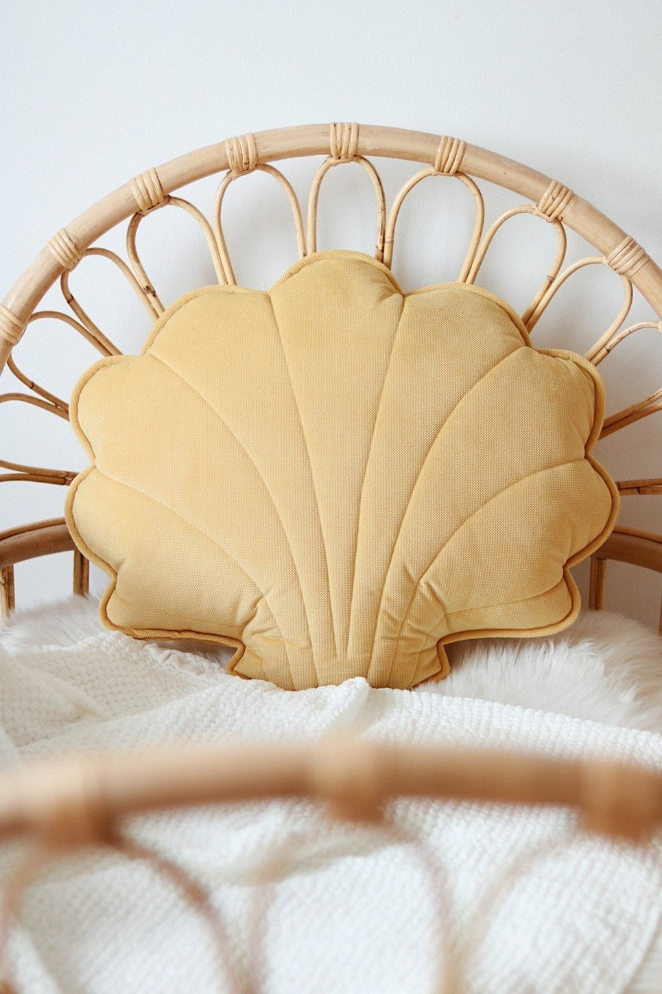Yellow Big Velvet Shell Cushion