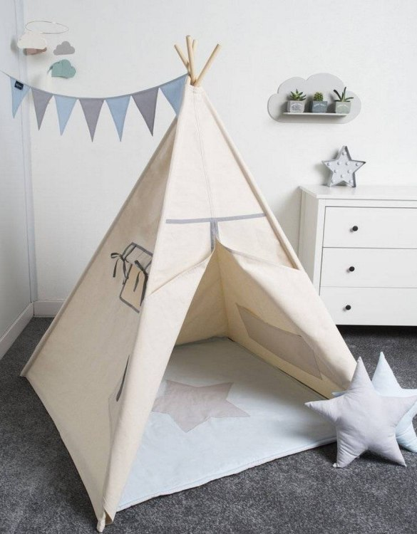 Watch your children create their own adventures with Basic Grey Children's Play Teepee! Every little adventure needs their own space to let their imaginations run wild and this kids play tent is just perfect.