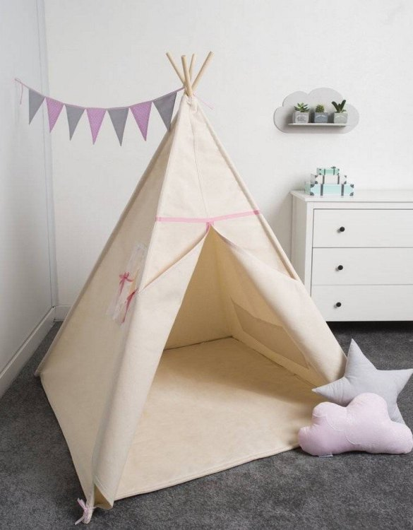 Watch your children create their own adventures with Basic Romantic Children's Play Teepee! Every little adventure needs their own space to let their imaginations run wild and this kids play tent is just perfect.