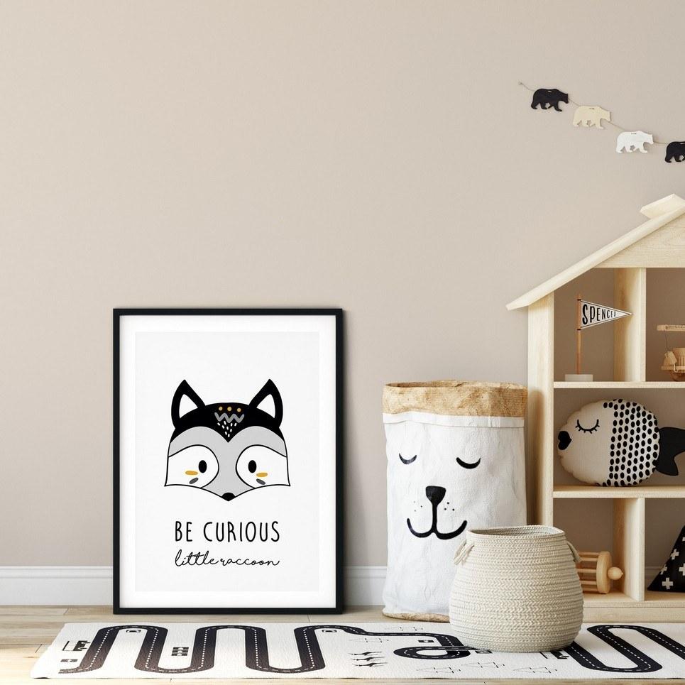 Be Curious Little Raccoon Nursery Print