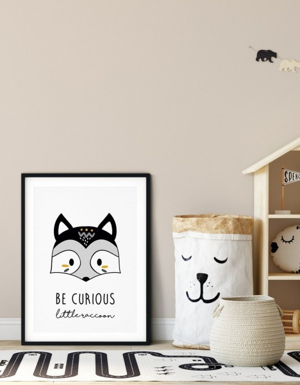 A heartfelt way of capturing a childhood memory forever, the Be Curious Little Raccoon Nursery Print is perfect to decorate your children's bedroom kids' nursery room decor art or stylish home office desk poster or living room wall.