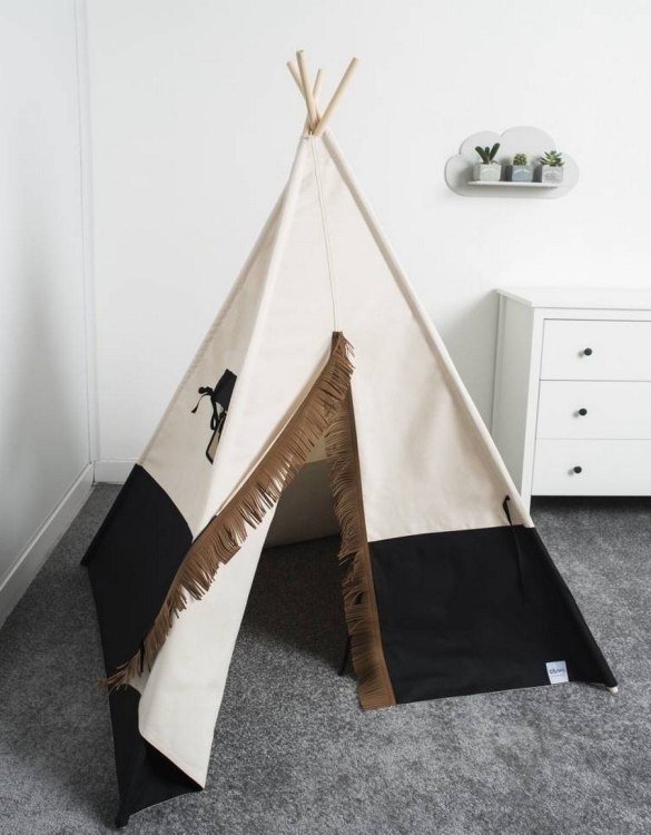 Watch your children create their own adventures with Black Children's Play Teepee! Every little adventure needs their own space to let their imaginations run wild and this kids play tent is just perfect.