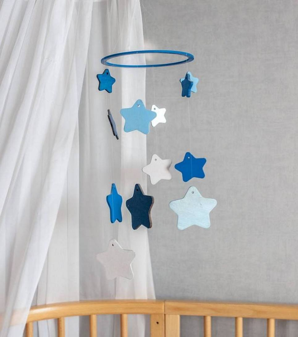 Blue Star Wooden Baby Mobile