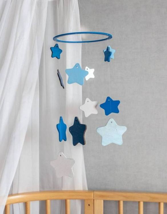 A perfect addition to any baby's room, the Blue Star Wooden Baby Mobile enchants children's eyes and escorts them into the land of dreams. This enchanting neutral gender baby mobile is sure to delight any child and will make the cutest addition to a woodland themed nursery decor.