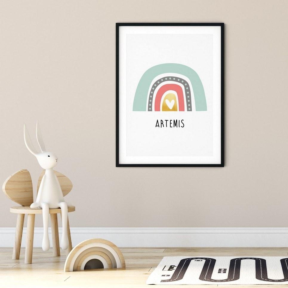 Boho Rainbow Print – Pink & Mint