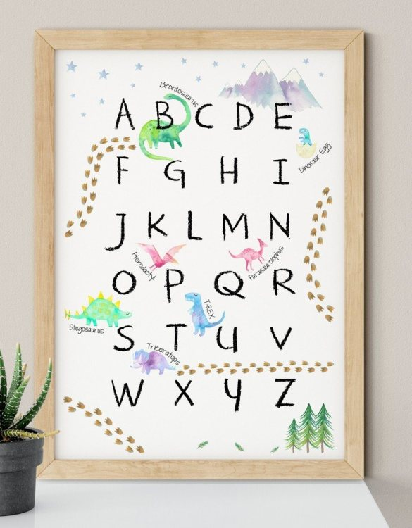 A heartfelt way of capturing a childhood memory forever, the Dinosaur Alphabet Nursery Print is perfect to decorate your children's bedroom kids' nursery room decor art or stylish home office desk poster or living room wall.