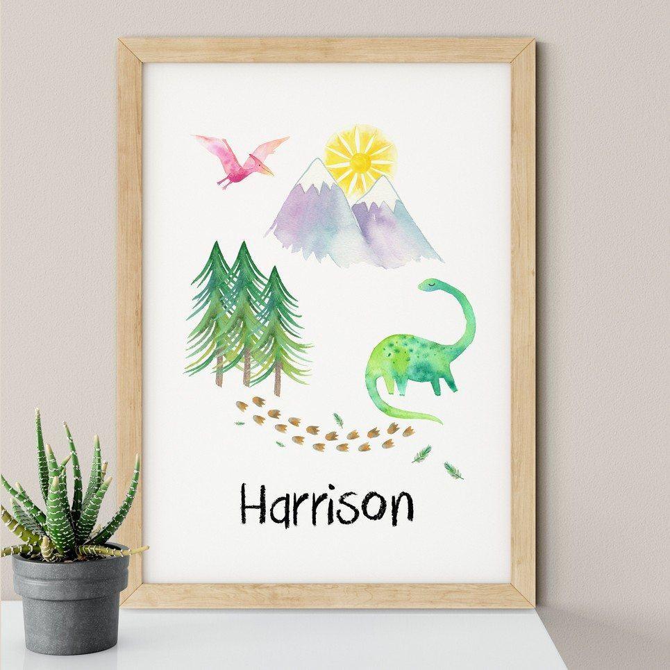 Dinosaur Scene Nursery Print