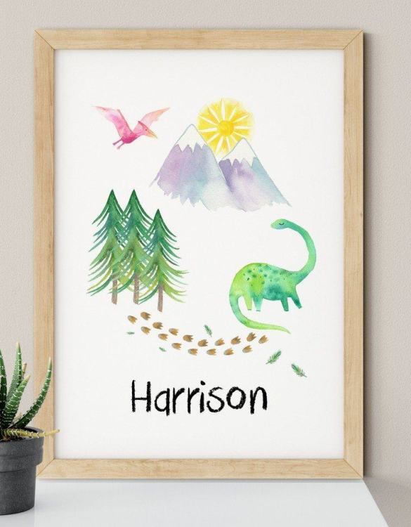 A heartfelt way of capturing a childhood memory forever, the Personalised Dinosaur Scene Nursery Print is perfect to decorate your children's bedroom kids' nursery room decor art or stylish home office desk poster or living room wall.