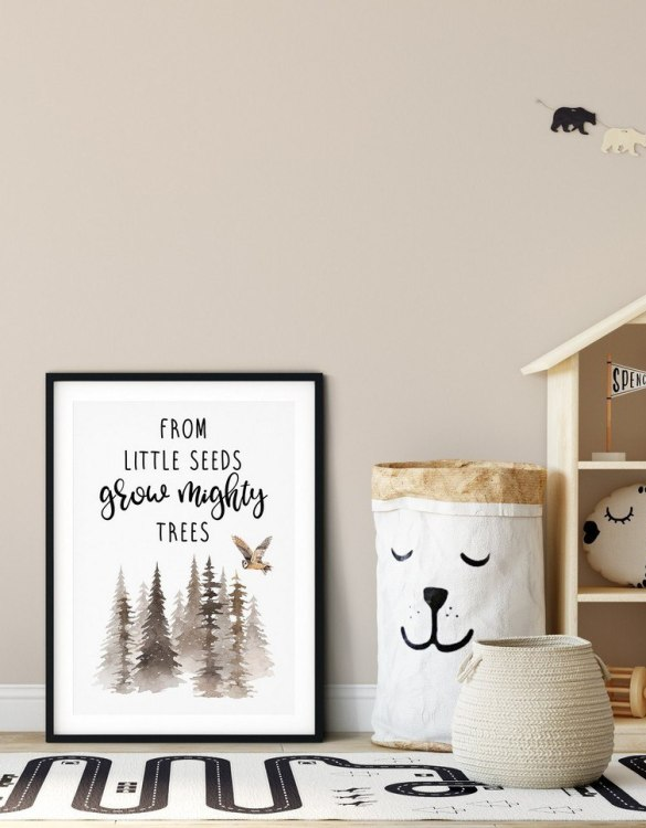 A heartfelt way of capturing a childhood memory forever, the From Little Seeds Grow Mighty Trees Nursery Print is perfect to decorate your children's bedroom kids' nursery room decor art or stylish home office desk poster or living room wall.