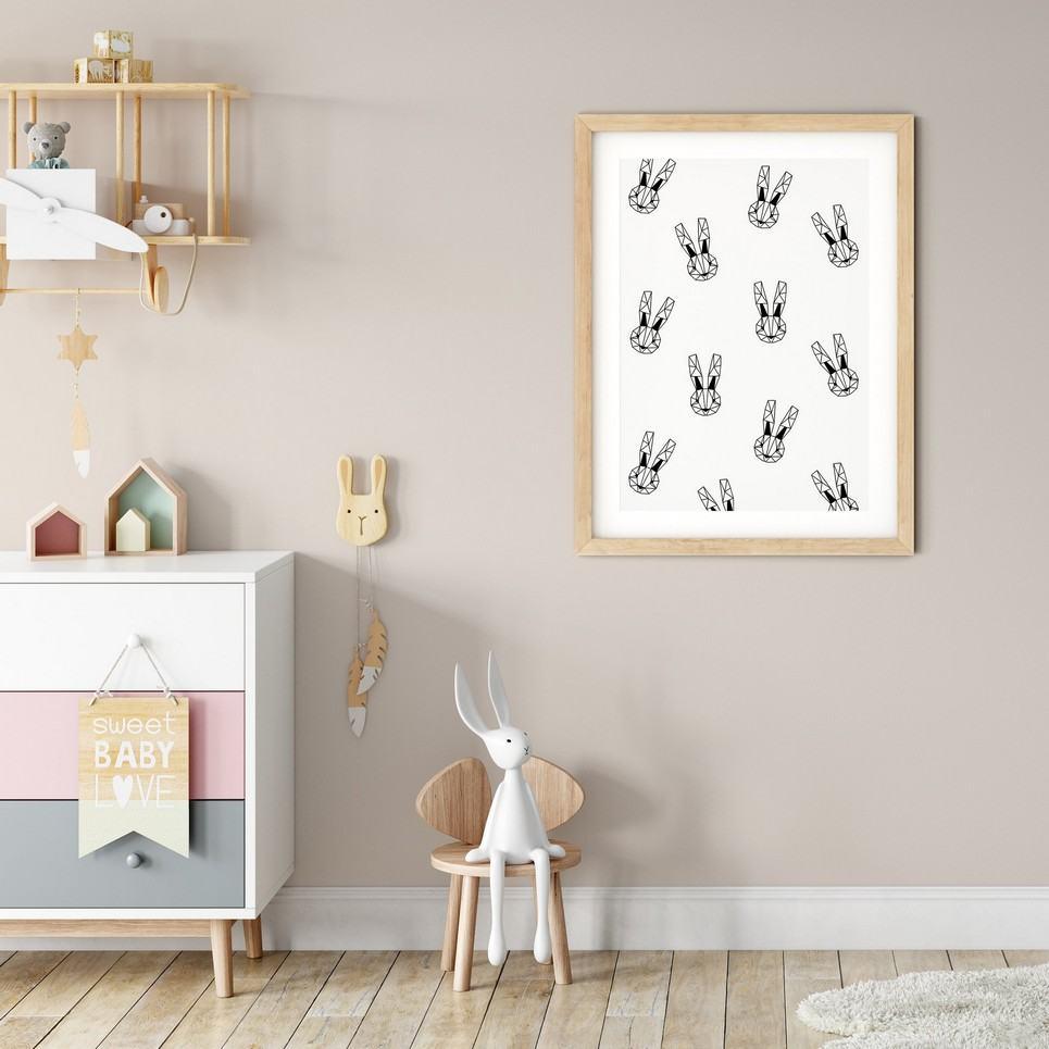 Geometric Bunnies Print – Monochrome