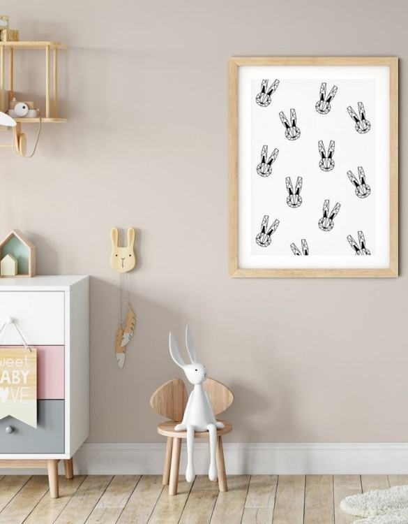 A heartfelt way of capturing a childhood memory forever, the Geometric Bunnies Print - Monochrome is perfect to decorate your children's bedroom kids' nursery room decor art or stylish home office desk poster or living room wall.