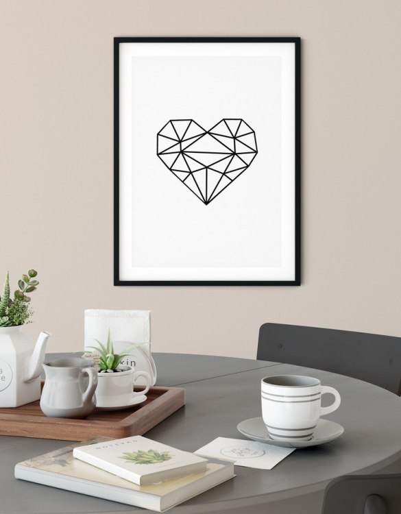 A heartfelt way of capturing a childhood memory forever, the Geometric Heart Print is perfect to decorate your children's bedroom kids' nursery room decor art or stylish home office desk poster or living room wall.