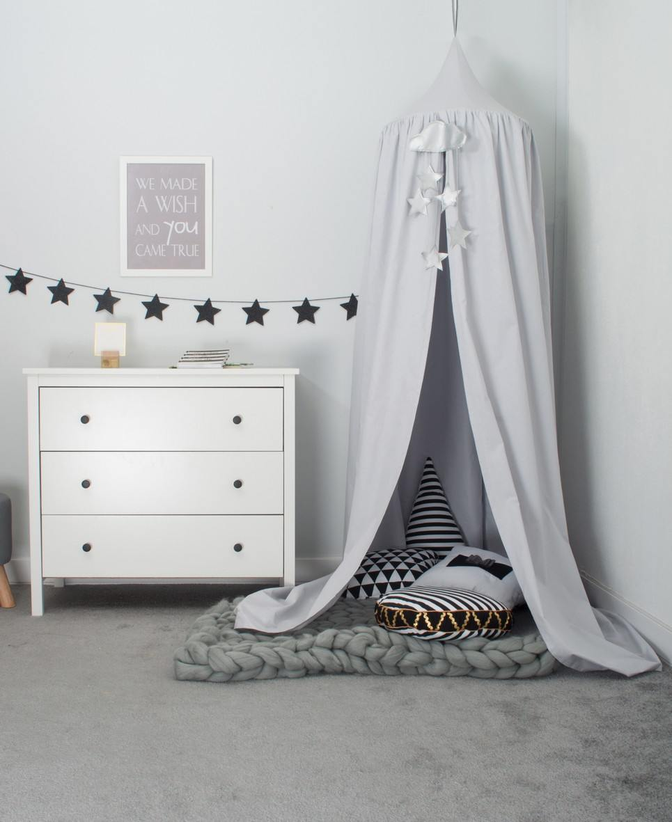 Grey Children's Canopy with Garland