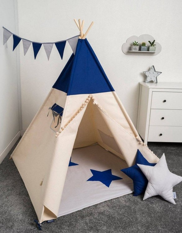 Watch your children create their own adventures with Just Blue Children's Play Teepee! Every little adventure needs their own space to let their imaginations run wild and this kids play tent is just perfect.