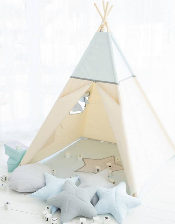 Watch your children create their own adventures with Light Blue Children's Play Teepee! Every little adventure needs their own space to let their imaginations run wild and this kids play tent is just perfect.
