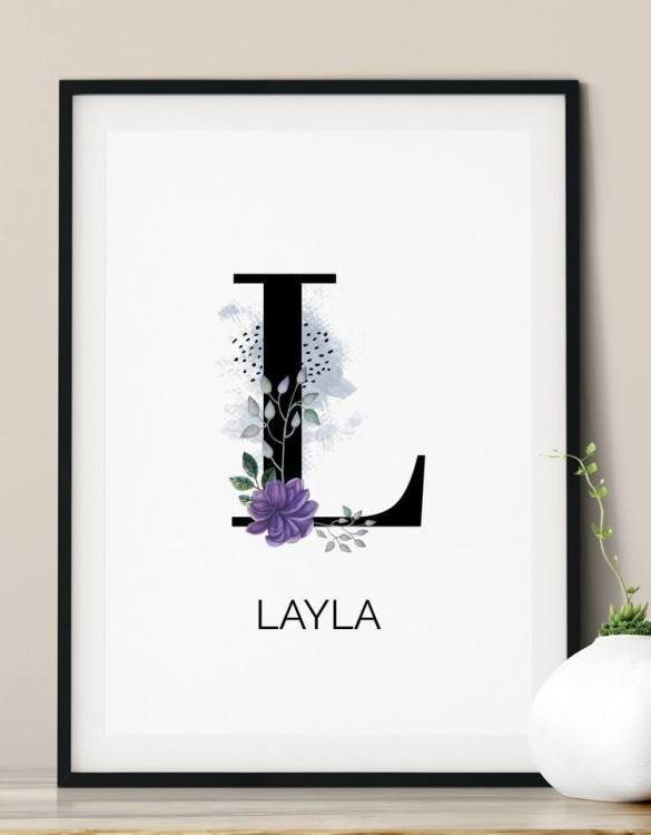 A heartfelt way of capturing a childhood memory forever, the Personalised Botanical Initial Print is perfect to decorate your children's bedroom kids' nursery room decor art or stylish home office desk poster or living room wall.