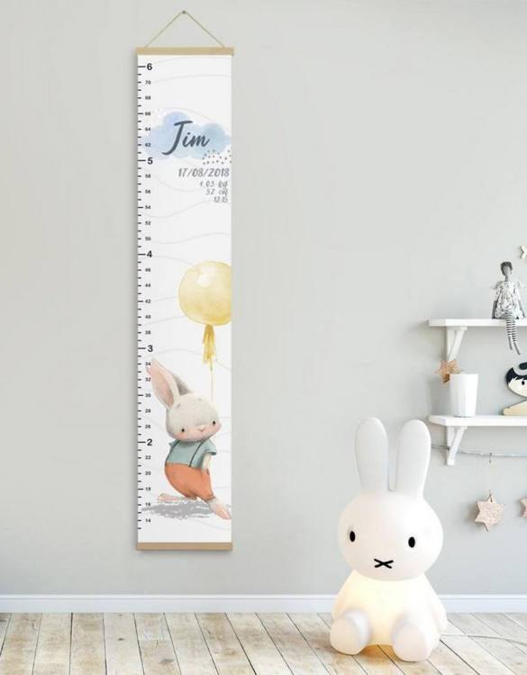 How high are your little creatures? Chart your child's growth development with the Personalised Bunny Child Growth Chart. This personalised growth chart will look perfect in your children's bedroom, nursery or playroom.