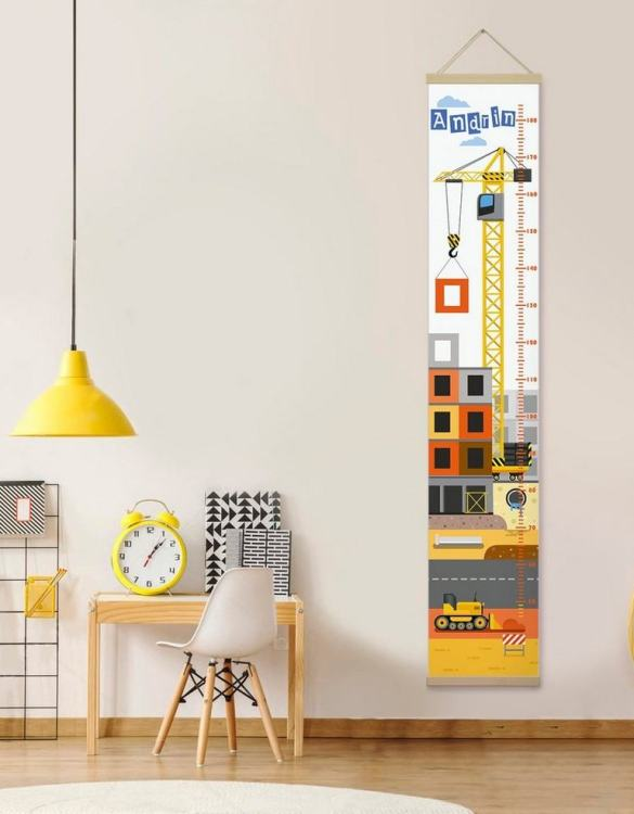 How high are your little creatures? Chart your child's growth development with the Personalised Construction Child Growth Chart. This personalised growth chart will look perfect in your children's bedroom, nursery or playroom.