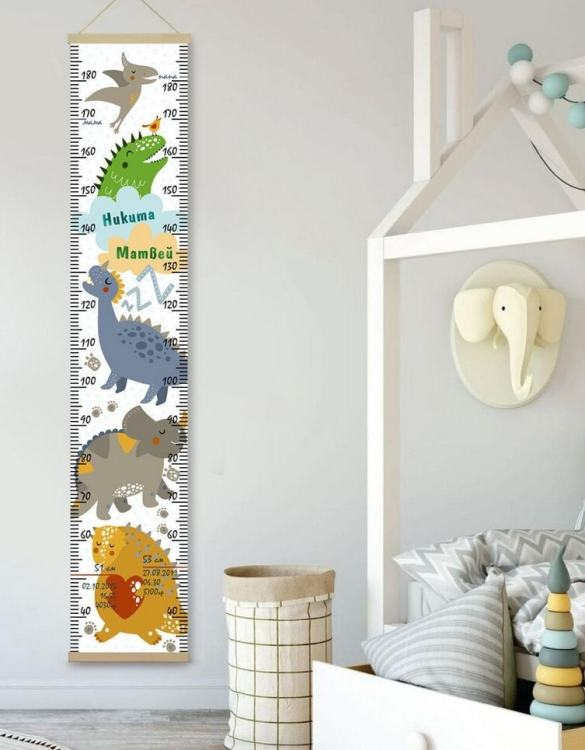 How high are your little creatures? Chart your child's growth development with the Personalised Dinosaur Twins Growth Chart. This personalised growth chart will look perfect in your children's bedroom, nursery or playroom.