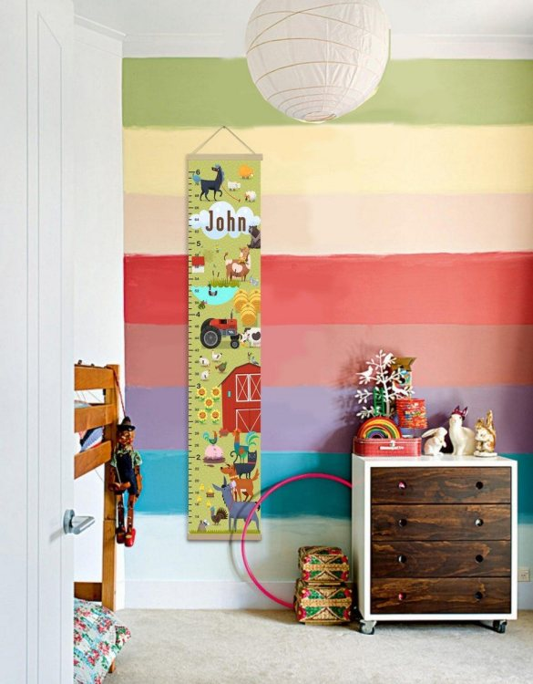 How high are your little creatures? Chart your child's growth development with the Personalised Farm Child Growth Chart. This personalised growth chart will look perfect in your children's bedroom, nursery or playroom.
