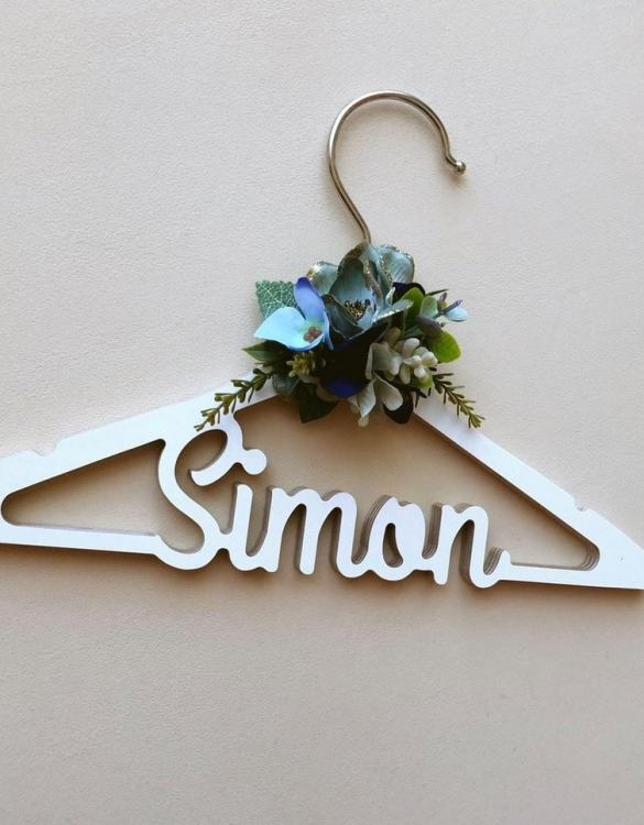 A beautiful way to display tiny clothes and make a wonderful keepsake, the Personalised Flower Children Clothes Hanger is a lovely little extra for your baby's clothes. A wonderfully unique children's clothes hanger, it is perfect for hanging up their favourite outfit or simply as a wall decoration in their own right.
