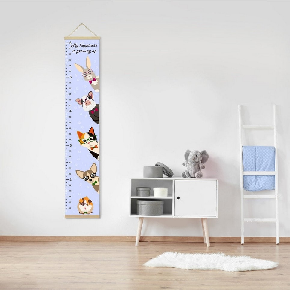 Personalised Lavender Cute Pets Child Growth Chart-min