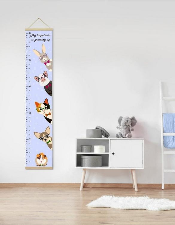 How high are your little creatures? Chart your child's growth development with the Personalised Lavender Cute Pets Child Growth Chart. This personalised growth chart will look perfect in your children's bedroom, nursery or playroom.