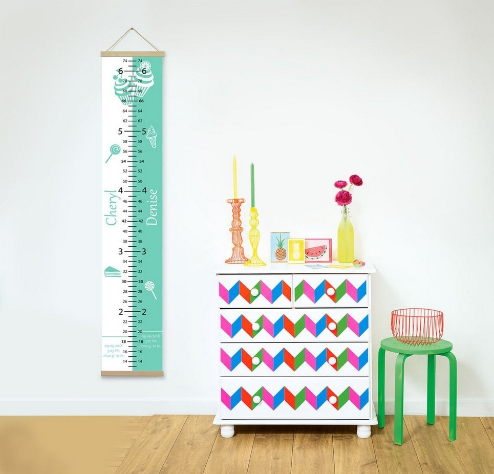 Personalised Sweet Green Twins Growth Chart-min