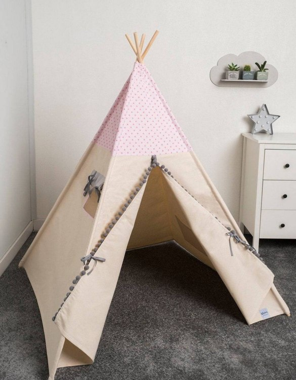 Watch your children create their own adventures with Pink Little Stars Children's Play Teepee! Every little adventure needs their own space to let their imaginations run wild and this kids play tent is just perfect.