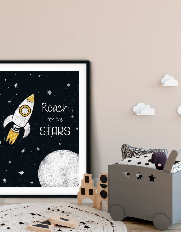 A heartfelt way of capturing a childhood memory forever, the Reach For The Stars Nursery Print is perfect to decorate your children's bedroom kids' nursery room decor art or stylish home office desk poster or living room wall.