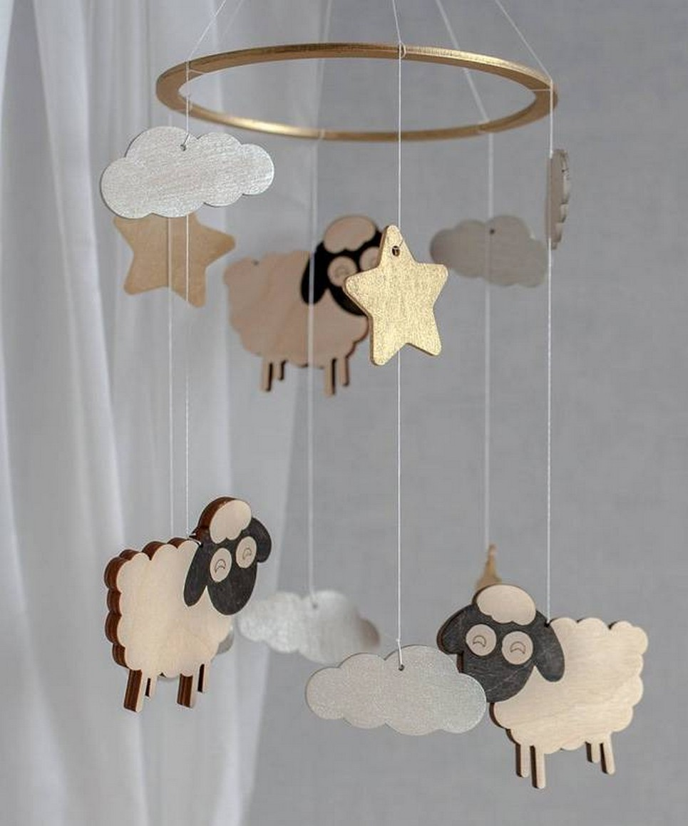 Sheep Wooden Baby Mobile