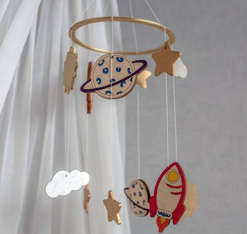 Space Theme Wooden Baby Mobile