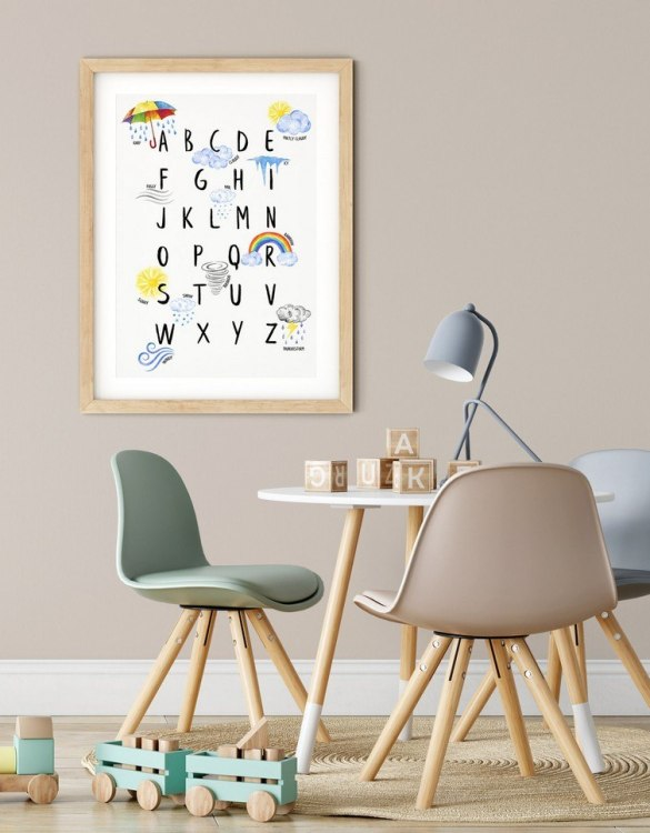 A heartfelt way of capturing a childhood memory forever, the Weather Alphabet Nursery Print is perfect to decorate your children's bedroom kids' nursery room decor art or stylish home office desk poster or living room wall.