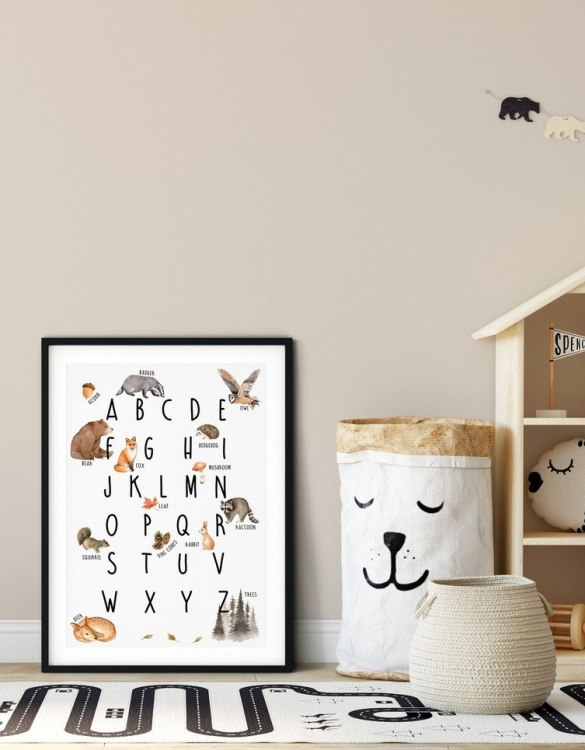 A heartfelt way of capturing a childhood memory forever, the Woodland Alphabet Nursery Print is perfect to decorate your children's bedroom kids' nursery room decor art or stylish home office desk poster or living room wall.