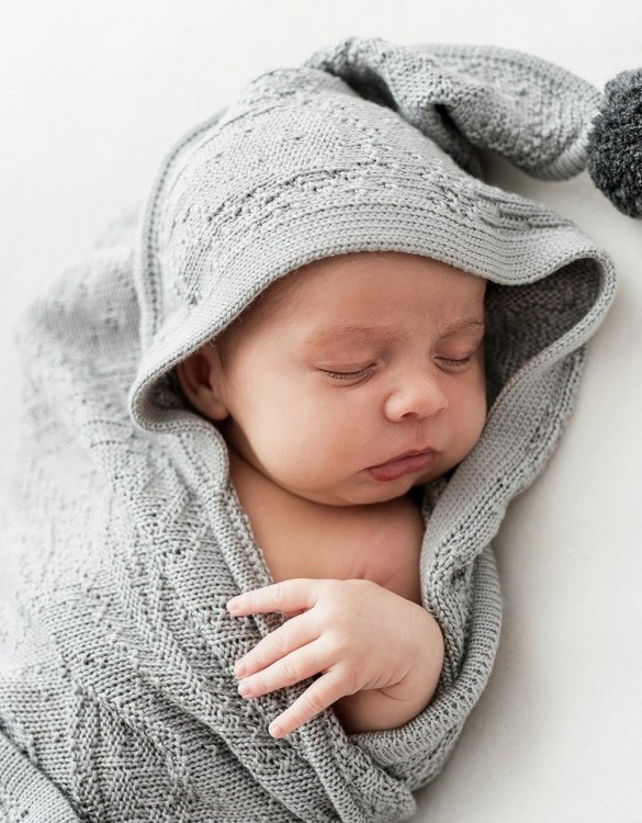 Chic and cozy, the Gray Bamboo Blanket with a Hood and Pompoms adds a playful touch that will catch your little one's attention. The super soft material of this hooded baby blanket, feels almost like felt and is perfect for wrapping a new bundle of joy up in and is the perfect way of welcoming a new baby home.